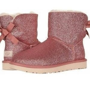 New Ugg Mini Bailey Bow Pink Sparkle Womens Boots